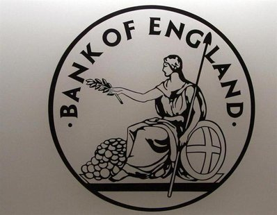 A logo bearing an image of Britannia, an emblem of the Bank of England, is seen in the Bank's reception in London March 25, 2008. REUTERS/Lu