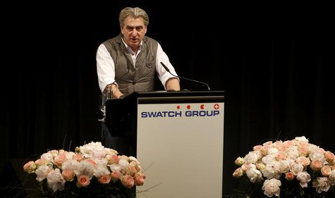 Swatch Group Chief Executive Officer Nick Hayek Jr addresses the company's annual general meeting in Biel some 45 kilometres north of Bern M