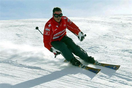 Then Ferrari's Michael Schumacher skis during a stay in the northern Italian resort of Madonna Di Campiglio in this January 16, 2004 file ph