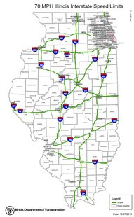 Illinois 70mph Map