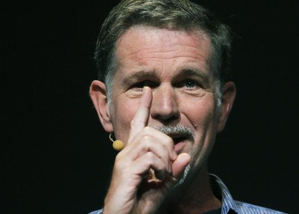 Netflix CEO Reed Hastings gestures while speaking at the Facebook f8 Developers Conference in San Francisco September 22, 2011. REUTERS/Robe