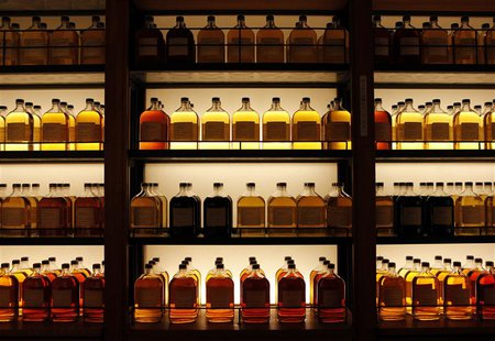 Bottles of Suntory Holdings single cask whisky are displayed at its Yamazaki Distillery in Shimamoto town, Osaka prefecture December 15, 201