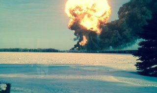Oil train fire and explosion 12/30/13 near Casselton North Dakota.  Photo: KFGO-AM