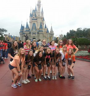 Members of the Quincy High School cheerleading team at Walt Disney World