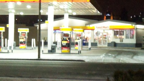 Public Safety found two victims lying on the cement outside this Shell Station.  A third was already on his way to Bronson E.R. in a private vehicle.