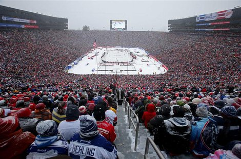 A general view in the first period during the 2014 Winter Classic hockey game between the Detroit Red Wings and the Toronto Maple Leafs at M