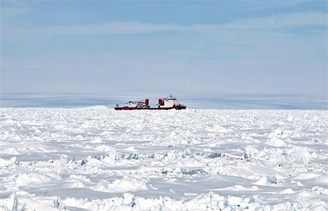 The Xue Long (Snow Dragon) Chinese icebreaker, as seen from Australia's Antarctic supply ship, the Aurora Australis, sits in an ice pack una