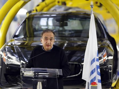 Italian car maker Fiat's Chief Executive Sergio Marchionne speaks during the Maserati new opening plant in Turin, January 30, 2013. REUTERS/
