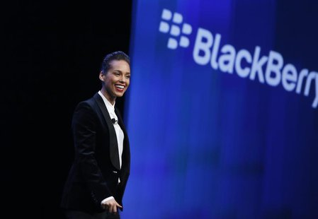 Singer songwriter Alicia Keys takes the stage after being introduced as the 'Global Creative Director' for Research in Motion (RIM) during t