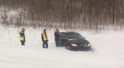 Photo of car that slid off U.S. 131 courtesy of John Williamson of Kalamazoo