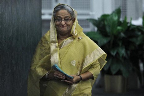 Bangladesh's Prime Minister Sheikh Hasina leaves the podium after addressing the 68th United Nations General Assembly at the U.N. headquarte