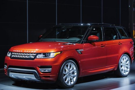 A Range Rover Sport from Land Rover is displayed on stage after an unveiling at the New York International Auto Show in New York, March 27,