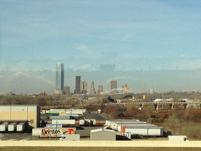 Oklahoma City is seen in the distance as JT from Y94 makes his way to Frisco, Texas from Fargo, North Dakota.