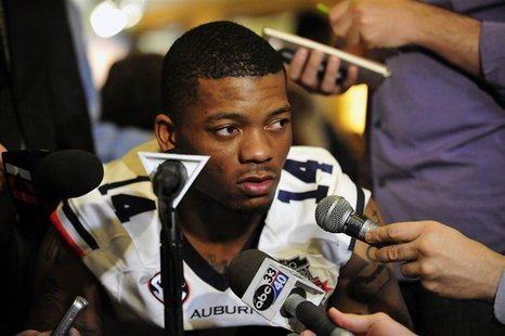 January 4, 2014; Newport Beach, CA, USA; Auburn Tigers quarterback Nick Marshall (14) speaks with media at the Newport Beach Marriott. Manda