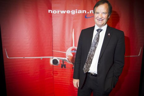 CEO of Norwegian Air Shuttle, Bjoern Kjos, poses at a news conference where he spoke about the low-cost airline's plans to buy 222 new aircr