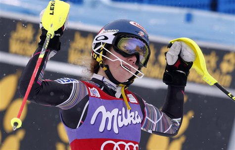 Mikaela Shiffrin of the U.S. celebrates after winning the World Cup alpine skiing women's slalom race in Bormio, January 5, 2014. REUTERS/St