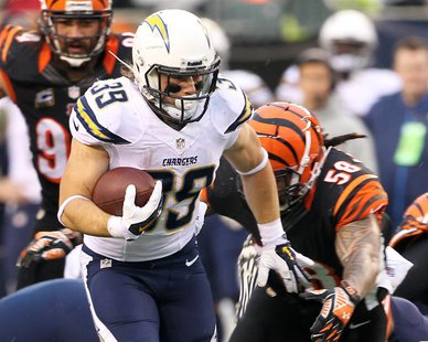 Jan 5, 2014; Cincinnati, OH, USA; San Diego Chargers running back Danny Woodhead (39) runs the ball during the third quarter against the Cin