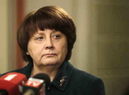 Newly appointed Prime Minister Laimdota Straujuma listens to a question during a news conference in Riga January 6, 2014. REUTERS/Ints Kalni