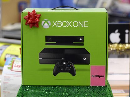 An XBox One which will be discounted at 6pm local time on Thanksgiving day is seen on display at the Wal-Mart Supercenter in the Porter Ranc
