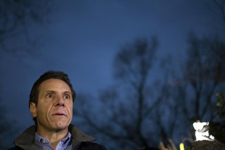 New York Governor Andrew Cuomo gives a news conference after a Metro North train derailment in the Bronx borough of New York December 1, 201