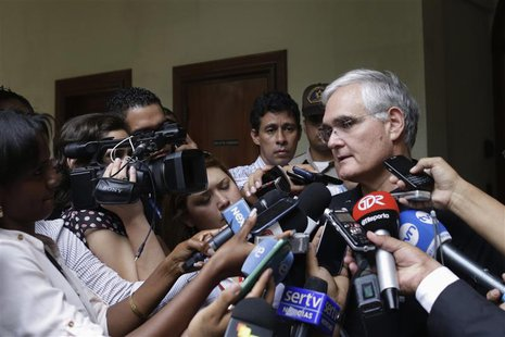 Panama Canal Administrator Jorge Quijano speaks after a private meeting with Spain's Public Works Minister Ana Pastor, in Panama City Januar