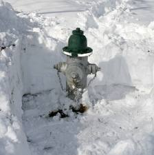 A fire hydrants dug out from the snow.