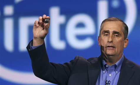 Intel CEO Brian Krzanich introduces Intel's Edison, a new personal computer in the size of an SD card, during the annual Consumer Electronic