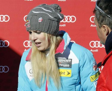 Lindsey Vonn of the U.S. reacts as she leaves after the the Women's World Cup Downhill skiing race in Val d'Isere, French Alps, December 21,