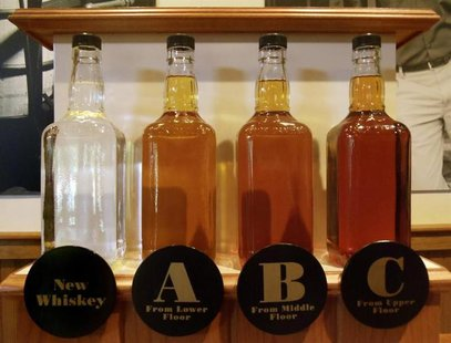 Bottles showing the barrel aging process are seen at the Jack Daniel's distillery in Lynchburg, Tennessee May 10, 2011. REUTERS/ Martinne Ge