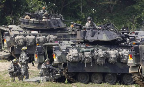 U.S. Army soldiers and its M2A2 Bradley fighting vehicles take part in the U.S.-South Korea joint military exercise against possible attacks