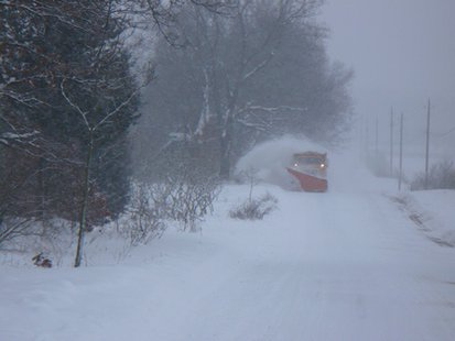 Plow truck in rural Kalamazoo County (Courtesy Kalamazoo County Road Commission)