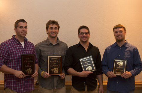 2013 Sheboygan A's award winners (from left): Chad Langely (Sine Qua Non Award), Cole Heili (Most Valuable Player), Taylor Schwarz (Most Valuable Pitcher) and Derek Loomans (Manager's Award). Missing is Luke Maldonado (Defensive Player of the Year).