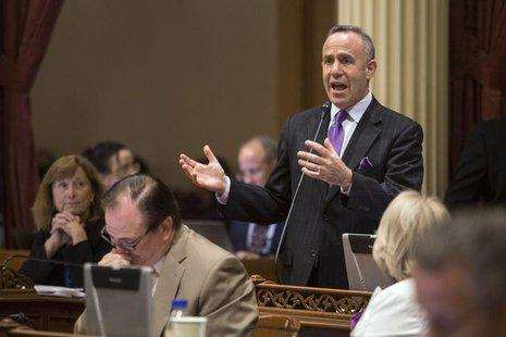 California Senate president pro tempore Darrell Steinberg (D-Sacramento) argues in favor of his bill SB743, which modifies the California En