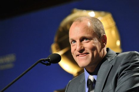Actor Woody Harrelson reacts during the announcement of the nominations for the 69th Annual Golden Globe Awards in the Beverly Hills, Califo