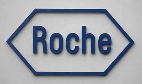 The logo of Swiss pharmaceutical company Roche is pictured on the company's headquarters in Basel February 4, 2009. REUTERS/Christian Hartma