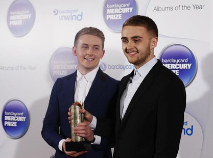 Musicians Howard (L) and Guy Lawrence of the British electronic band Disclosure, nominated for the Mercury Music Prize, poses for a photogra