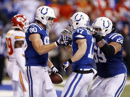 Jan 4, 2014; Indianapolis, IN, USA; Indianapolis Colts tight end Coby Fleener (80) is congratulated by wide receiver Griff Whalen (17) after