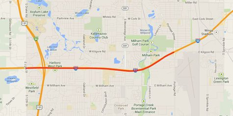 Darker orange line shows portion of the Interstate that will be impacted by the intermittent closures.