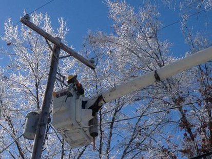 Consumers Energy crew goes to work on outage.
