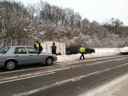 an SUV pulling a trailer had slid into the cable barrier on eastbound 70 near two mile marker. picture provided by Indiana State Police