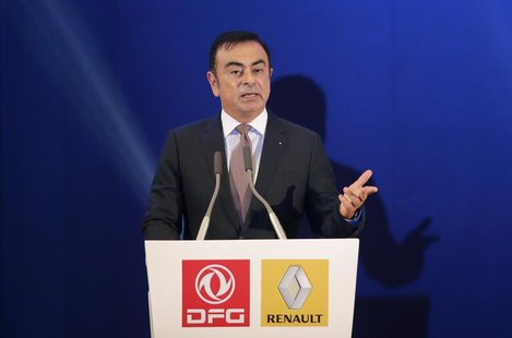 Chairman and CEO of Renault Carlos Ghosn speaks during a joint venture contract signing ceremony with Chairman of Dongfeng Motor Group Compa