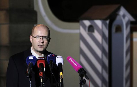 Czech Social Democratic Party (CSSD) leader Bohuslav Sobotka speaks to the media in front of the Lany chateau after meeting President Milos