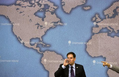 U.S. Republican Senator Marco Rubio drinks as he prepares to answer questions after delivering his keynote speech entitled 'American Leaders