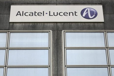The logo of the telecom equipment maker Alcatel-Lucent is seen on the company site building in Rennes, western France, October 15, 2013. REU