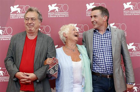 "Director Stephen Frears (L) poses with actors Judi Dench and Steve Coogan (R) during a photocall for the movie ""Philomena"" during the 70th V"