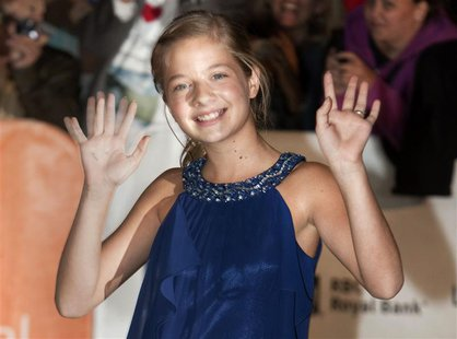 Actress Jackie Evancho arrives at a screening of the film 'The Company You Keep' during the 37th Toronto International Film Festival in this