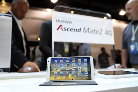 The Huawei Ascend Mate2 4G mobile telephone with an Android operating system is displayed at the annual Consumer Electronics Show (CES) in L