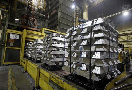 Aluminum ingots which will be melted down and turned into engine cases are seen during a tour of the Honda automotive engine plant in Anna,
