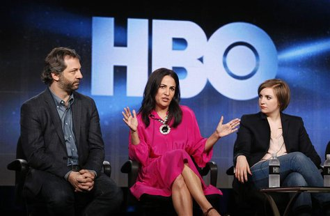 "Executive producers Judd Apatow (L-R), and Jenni Konner, and creator, executive producer, actor Lena Dunham talk about HBO's ""Girls"" during"