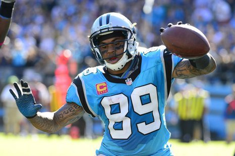 Carolina Panthers wide receiver Steve Smith (89) reacts after scoring a touchdown in the third quarter against the St. Louis Rams at Bank of